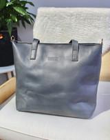 Genuine Leather Tote Bag with Pocket | Grey | Handmade in Kenya