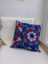 "Throw Pillow | 18""x 18"" | African Kitenge - Blue, Red, White Round Petal Flower Design | Handmade in Kenya"