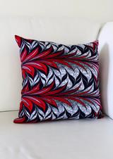 "Throw Pillow | 18""x 18"" | African Kitenge - Blue, Red, Pink Bloom Design | Handmade in Kenya"