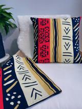 "Throw Pillow | 18""x 18"" | African Kitenge - Red, Tan, Beige Multi - Pattern Design | Handmade in Kenya"