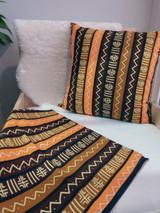 "Throw Pillow | 18""x 18"" | African Kitenge - Orange, Yellow, Brown Zig Zag Line Design | Handmade in Kenya"