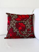 "Throw Pillow | 18""x 18"" | African Kitenge - Red & Brown Paisley Design | Handmade in Kenya"