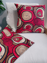 "Throw Pillow | 18""x 18"" | African Kitenge - Red, Beige, Brown Circles Design | Handmade in Kenya"