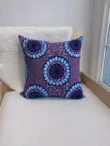 "Throw Pillow | 18""x 18"" | African Kitenge - Purple/Blue Round Flowers & Vines Design | Handmade in Kenya"