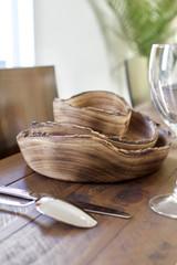 Rustic Live Edge Dinnerware Set | Round | Jacaranda Wood | Handcrafted in Kenya