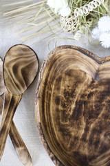 Rustic Live Edge Small Plate | Heart | Jacaranda Wood | Handcrafted in Kenya