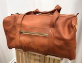 Leather Weekender/Travel Bag   Red Tan   Handmade in Kenya