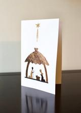 Greeting Card | Mary & Joseph in Manger | Banana bark