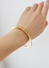Hand-Hammered Bracelet   Round Bangle   Beveled - Flat   Gold Brass   Hand Hammered in Kenya