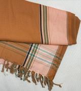 Kikoy Cotton Scarf   Terracotta with Light Orange Stripe   Handwoven in Kenya