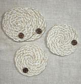 Fabric Coasters | White | Set of 4 | Handmade in Guatemala