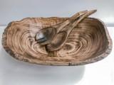 Burned Wood Oval Salad Bowl Set | Jacaranda Wood | Handmade In Kenya