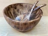 Burned Wood Salad Bowl Set | Round - Large | Jacaranda Wood | Handmade In Kenya