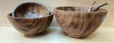 Burned Wood Salad Bowl Set   Round - Large   Jacaranda Wood   Handmade In Kenya
