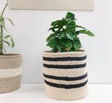 "Kiondo Basket - Black & Beige Stripes | 12.5"" - Planter, Storage, Decor"