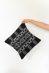 Throw/Sofa Pillows   Black   Mudcloth Style - 18 by 18 Inches