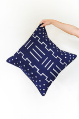 Throw/Sofa Pillows | Indigo Blue | Mudcloth Design - 18 by 18 Inches