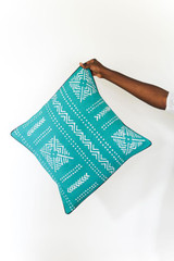 Throw/Sofa Pillows   Teal   Mudcloth Design - 18 by 18 Inches