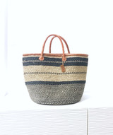 Kiondo Basket Bag - Natural & Black Stripes | Short Handle Medium - 14"