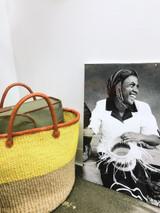 Kiondo Basket - Natural With Yellow Stripe | Large - Shopper, Storage, Decor