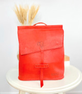 Leather Backpack Mini - Red | Genuine Leather | Women's | Handmade in Kenya