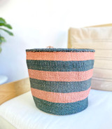 Kiondo Basket - Black & Mauve Stripes | 10"