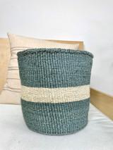 "Kiondo Basket - Grey With One Large White Stripe - 10""   Shopper, Storage, Decor"