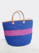 Kiondo Basket - Blue With One Pink Stripe + Short Leather Handle. 14"