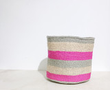 """Kiondo Basket - Light Brown With Two Pink and Two Grey Stripes - 8"""" 