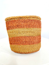 Kiondo Basket - Brown With Two Rust Orange Stripes | 6"