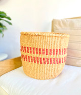 Kiondo Basket - Beige With Two Red Stripes- 10"