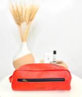 Red Toiletry/Washbag - Medium | Genuine Leather | Handmade in Kenya