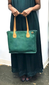 Genuine Leather Satchel/Messenger/Briefcase for Women | Green with Tan Straps | Handmade in Kenya