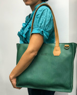 Genuine Leather Satchel/Messenger/Briefcase for Women   Green with Tan Straps   Handmade in Kenya