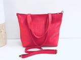 Genuine Leather Tote Bag   Red   Handmade in Kenya