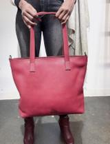Genuine Leather Tote Bag | Plum | Handmade in Kenya