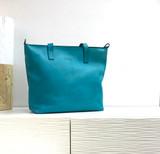 Genuine Leather Tote Bag | Turquoise | Handmade in Kenya
