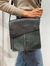 Genuine Leather Satchel/Messenger Bag | Black | Unisex | Handmade in Kenya