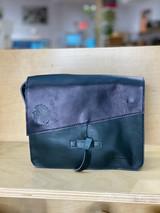 Genuine Leather Satchel/Messenger Bag - Small   Black   Unisex   Handmade in Kenya