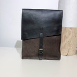 "Leather Satchel - 14"" - Brown & Black 