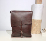 "Leather Satchel - 14"" - Dark Brown 