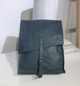 "Leather Satchel - 14"" - Dark Grey 