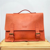 Briefcase/Laptop/Attache Bag - Orange | Unisex | Genuine Leather | Handmade in Kenya