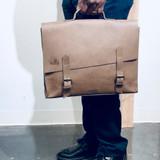 Briefcase/Laptop/Attache Bag - Light Brown   Unisex   Genuine Leather   Handmade in Kenya