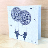 Couple on Mandala Swing | Recycled Paper Plantable Greeting Card | Handmade in South Africa