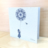 Girl with a Mandala Balloon | Recycled Paper Plantable Greeting Card | Handmade in South Africa