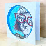 Girl with Red Spectacles | Recycled Paper Plantable Greeting Card | Handmade in South Africa