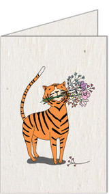 Tiger with Flowers | Recycled Paper Plantable Greeting Card | Handmade in South Africa