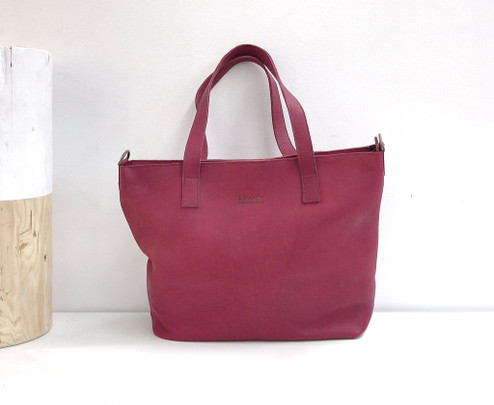 Genuine Leather Tote Bag | Burgundy | Handmade in Kenya