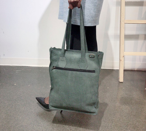 Genuine Leather Tote/Laptop Bag/Briefcase for Women | Light Grey | Handmade in Kenya